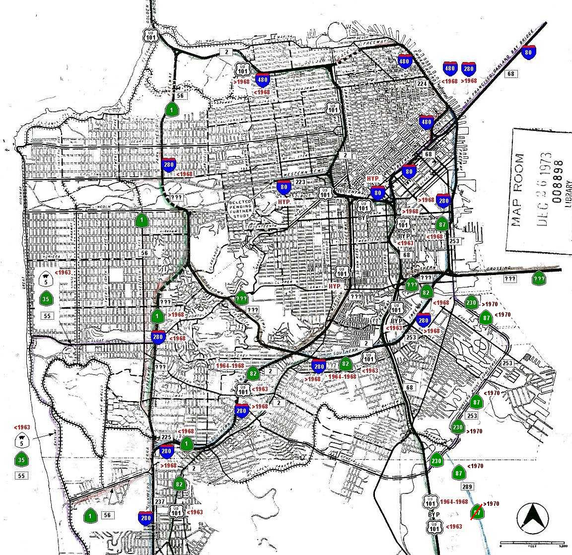 san francisco figure 1 2 1955 trafficways plan click on the image for a full size map full size image size 309k